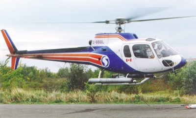 Helicopter equipped for environmental monitoring